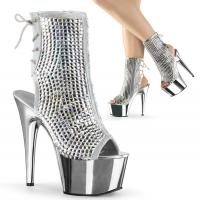 ADORE-1018DCS Pleaser High-Heels Peep-Toe Stiefeletten silber chrom Mulitcolor Strass