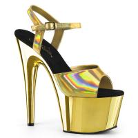 ADORE-709HGCH Pleaser High-Heels Chromplateau Sandaletten gold Hologramm