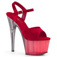 ADORE-709MCT Pleaser High-Heels Plateau Sandaletten rot Samt duale Tintenfarbe