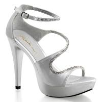 Sale COCKTAIL-526 Fabulicious High-Heels Plateausandaletten silber Satin mit Strass 39