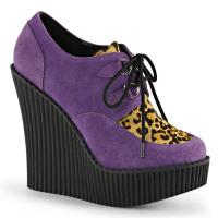 CREEPER-304 Demonia Keilplateau Schnürschuhe lila leopardenprint