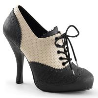 Sale CUTIEPIE-14 Pin Up Couture High-Heels Oxford Schnürpumps creme-schwarz 41