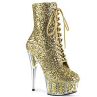 DELIGHT-1020G Pleaser High-Heels Plateaustiefeletten gold Glitter