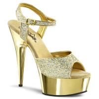 Sale DELIGHT-609G sexy Pleaser High-Heels Plateausandaletten gold Glitter und Chrom 37