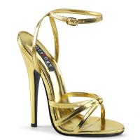 DOMINA-108 Devious High Heels Fesselriemchen Sandaletten gold Metallic