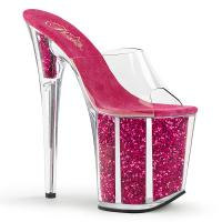 Sale FLAMINGO-801G Pleaser High-Heels Plateau Pantoletten transparent hotpink Glitter 40