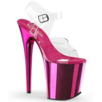 FLAMINGO-808 Pleaser High-Heels Plateau Sandaletten transparent hotpink chrom