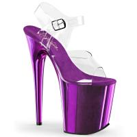 FLAMINGO-808 Pleaser High-Heels Plateau Sandaletten transparent lila chrom