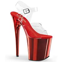 FLAMINGO-808 Pleaser High-Heels Plateau Sandaletten transparent rot chrom