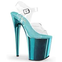 FLAMINGO-808 Pleaser High-Heels Plateau Sandaletten transparent türkis chrom