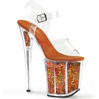 FLAMINGO-808GF Pleaser High-Heels Sandaletten klar orange holografischer Glitter