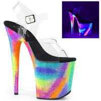 FLAMINGO-808GXY Pleaser High-Heels Plateausandaletten klar Neon Galaxy Glitter