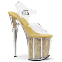 FLAMINGO-808SRS Pleaser High-Heels Sandaletten klar gold chrom Strasseffekt