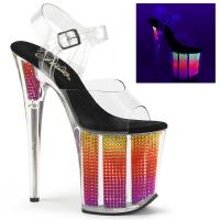 FLAMINGO-808SRS Pleaser High-Heels Sandaletten klar neon multicolor