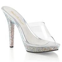 Sale LIP-101DM Fabulicious High-Heels Plateaupantoletten klar Multicolor-Strass 40