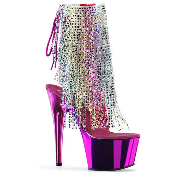ADORE-1017RSF Pleaser High-Heels Peep-Toe Fransen-Stiefeletten multicolor fuchsia chrom