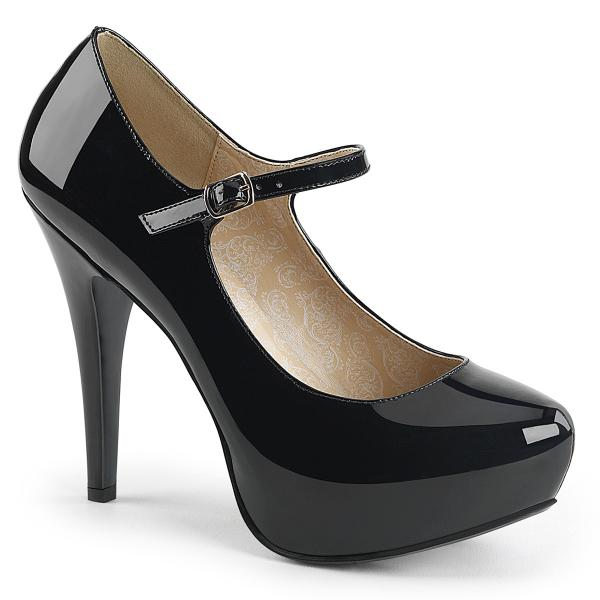 CHLOE-02 Pleaser Damen High-Heels Mary Jane Plateaupumps schwarz Lack